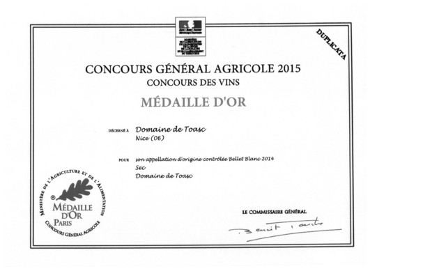 MEDAILLE D'OR - CONCOURS GENERAL AGRICOLE 2015  - Blanc AOP 2014