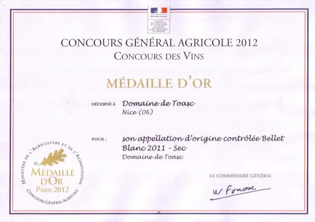 MEDAILLE D'OR - CONCOURS GENERAL AGRICOLE 2012  - Blanc 2011