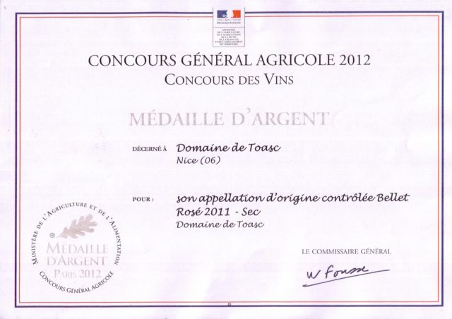MEDAILLE D'ARGENT    -                                                                                                                         CONCOURS GENERAL AGRICOLE 2012  - Rouge 2009
